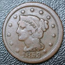 1853 UNITED STATES OF AMERICA - ONE CENT - LARGE CENT - Braided Hair - Nice Coin