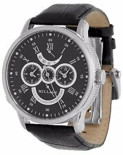 MILLAGE THE RETROGRADE ELITE COLLECTION M9014 DUAL TIME SKELETON BACK AUTO WATCH