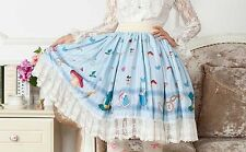 Cosplay Sweet Love Lolita Kawaii Mushrooms Print Skirt (Color: Baby Blue)