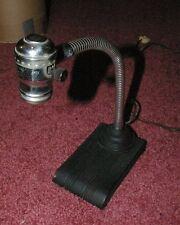 Art Deco Industrial Age Chrome & Reinforced Metal Paint Iron Base Desk Lamp