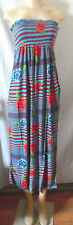 LIGHT BLUE RED ROSES STRIPE ELASTIC TOP LONG STRAPLESS DRESS RAYON LARGE