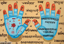 Handprint Of Vishnu Hath Hand Ik Painting Indian Hindu Antique Art_AR822