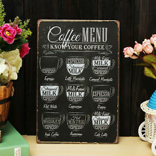 Coffee Menu Vintage Tin Sign Bar Pub Shop Home Wall Decor Retro Metal Art Poster