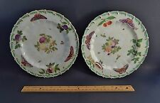 Rare Pair Antique 18th Century Chelsea Botanical Plates Circa 1760 Anchor Mark