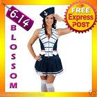 E6 Ladies 50s Rockabilly Pin Up Captain Sailor Fancy Dress Costume & Hat