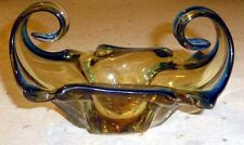 VINTAGE MURANO ART GLASS BOWL BLUE & AMBER GOLD GLASS DECORATIVE SCROLLED SIDES