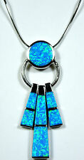 """925 Sterling Silver Chain Necklace with Blue Fire Opal Inlay Pendant - 18"""""""