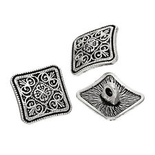 5 Square 13mm Metal Buttons Antique Silver Carved Design,  Sewing,  crafts