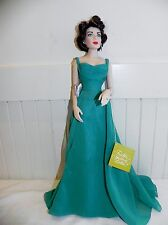 Liz Elizabeth Taylor Porcelain Doll Franklin Mint Green Dress Evening Emerald