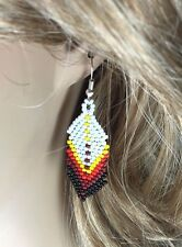 WHITE MULTICOLORED BEADED EARRINGS BEAD JEWELRY HANDMADE CHANDELIER