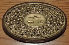 "VINTAGE 5.25""L SOLID BRASS OVAL POTPOURRI BOX w/SCALES of JUSTICE ON TOP - INDIA"
