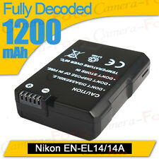 1200mAh Fully Decoded Battery for Nikon EN-EL14 COOLPIX D3100 D3200 P7000 P7700
