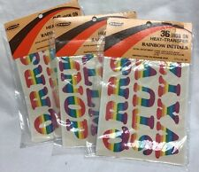 3 Packages Vintage New 70s 80s Iron On Heat-Transfer Rainbow Initials (Letters)
