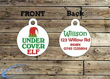 Christmas Dog Cat ID Tags - Under Cover Elf - Double Sided Personalized Charm