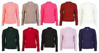 NEW WOMEN LADIES CABLE KNIT JUMPER CREW NECK LONG SLEEVE ONE SIZE CROP SWEATER