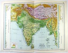 Original 1909 Physical Map of India by John Bartholomew & Co.