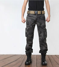 Mens Tactical Military Combat Work Duty Camo Trousers Hunting Hiking Cargo Pants