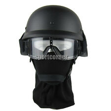 Airsoft US Army SWAT Airsoft M88 PASGT Helmet Black + Tactical  Hunting Goggles