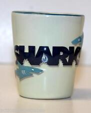 SHOT GLASS SHARKS TENNESSEE AQUARIUM CHATTANOOGA ( CERAMIC BLUE & BEIGE)