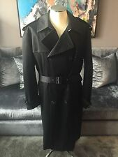 Mens Louis Vuitton Black Belted Trench Coat w Wool Removable Liner Sz 58