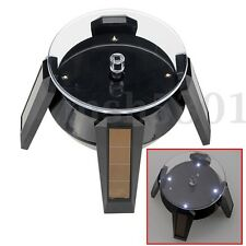 360°Solar Display Stand LED Turntable Rotating Plate for Jewelry Watch Phone