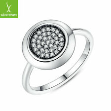 2016 Round Pave CZ Shaped Finger Ring With High Silver Crystal Clear CZ Ring