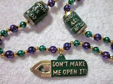 """""""CANS of WHOOP ASS BEER"""" OPENER MARDI GRAS BEAD DON'T MAKE ME OPEN IT! (B256)"""
