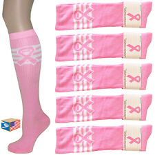 10 PAIR LOT KNEE HIGH SOCKS Pink Ribbon Breast Cancer NEW WHOLESALE CLOSEOUT!