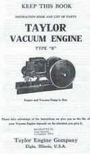 Instructions on Taylor Vacuum Type B Gas Engine Motor Book Flywheel Parts List
