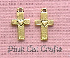 10 x HEART CROSS Tibetan Gold Tone 3D Charms Pendants Beads