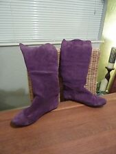 Purple Suede  Knee High Boots Size 38 (5)