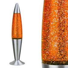 Große GLITTER-Lavalampe Lavaleuchte Glitzerlampe ORANGE GELB - METALL GLAS