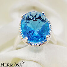 15x12mm. Lady Wedding Exclusive Blue Topaz 925 Sterling Silver Ring Sz.9 MR022