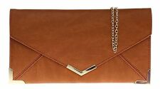 New Designer Faux Leather Clutch Bag Gold Trim Envelope Summer Purse Party Retro