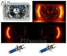4x6 AMBER LED HALO PROJECTOR HALOGEN CRYSTAL HEADLIGHTS ANGEL EYE H4 LIGHT BULBS