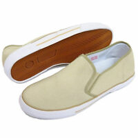 MENS Beige SLIP ON Canvas TRAINERS Pumps PLIMSOLLS Flat CASUAL Shoe UK Size 7-12