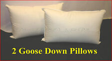 2 x GOOSE DOWN & FEATHERS KING SIZE PILLOWS 100% COTTON COVER SUMMER  SALE