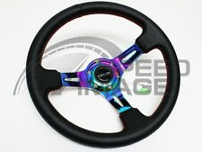 "NRG STEERING WHEEL WITH HORN 3"" DEEP DISH 350MM BLACK LEATHER WITH NEO SPOKES"