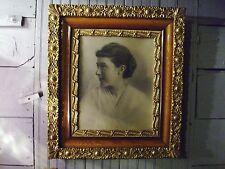 """Antique Portrait Maiden Woman Lady Gilded Frame Oak Trim 1900's 26"""" x 23""""  #475"""