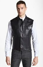 Lanvin Lambskin Leather Black Vest Size Small