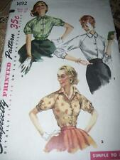 1950s SIMPLICITY #1692 - LADIES CUTE SIMPLE TO MAKE ALL SEASON BLOUSE PATTERN 12