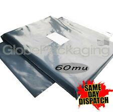 """100 x STRONG LARGE GREY POSTAL MAILING BAGS 12x16"""""""