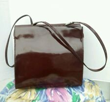 FURLA Italy Burgundy Patent Leather Shoulder Bag Purse Tote Shopper handbag.