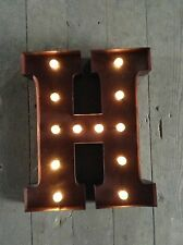 LED LIGHT CARNIVAL CIRCUS  RUST  METAL LETTER  H - WALL OR FREE STANDING 13 INCH