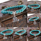 New Family Boho Gemstone Turquoise Bead Stretch Charm Bracelet Pendant Mom Gift