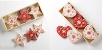 WOODEN WOOD HANGING CHRISTMAS DECORATIONS ORNAMENTS STAR HEART TREE NORDIC STYLE
