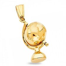 Solid 14k Yellow Gold Globe Pendant World Earth Charm Polished Quality Genuine
