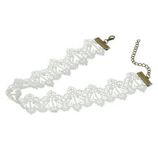 Fashion Punk Gothic Retro Vintage Choker Handmade White Lace Necklace for Women