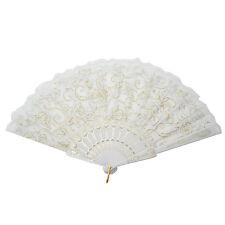 Chinese Spanish Style Lace Rose Flower Folding Pocket Hand Fan Decoration White