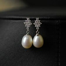 Earrings 925 Sterling Silver Cultured White FreshWater Pearl Drop Bridal 9-10mm